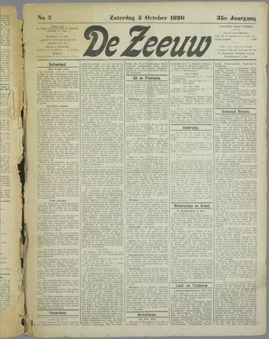 De Zeeuw. Christelijk-historisch nieuwsblad voor Zeeland 1920-10-02