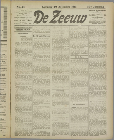 De Zeeuw. Christelijk-historisch nieuwsblad voor Zeeland 1915-11-20