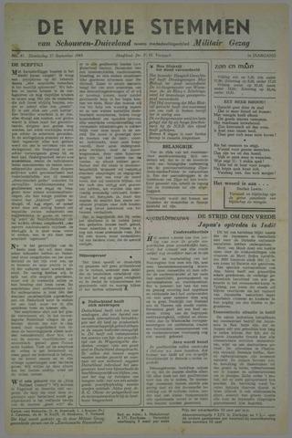 Vrije Stemmen van Schouwen-Duiveland, tevens mededeelingenblad Militair Gezag 1945-09-27