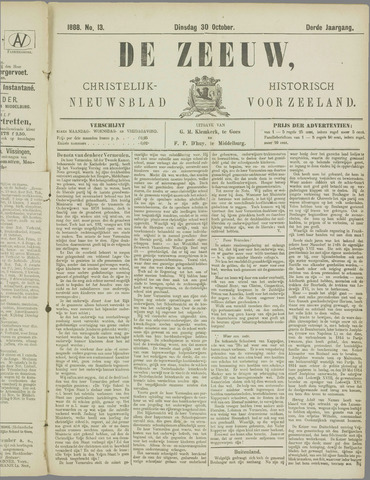 De Zeeuw. Christelijk-historisch nieuwsblad voor Zeeland 1888-10-30