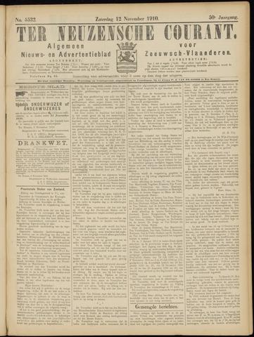 Ter Neuzensche Courant. Algemeen Nieuws- en Advertentieblad voor Zeeuwsch-Vlaanderen / Neuzensche Courant ... (idem) / (Algemeen) nieuws en advertentieblad voor Zeeuwsch-Vlaanderen 1910-11-12