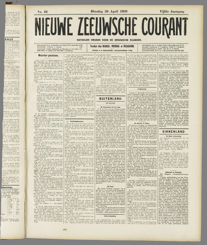 Nieuwe Zeeuwsche Courant 1909-04-20