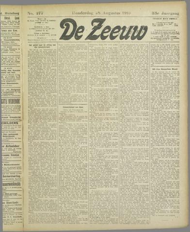 De Zeeuw. Christelijk-historisch nieuwsblad voor Zeeland 1919-08-28