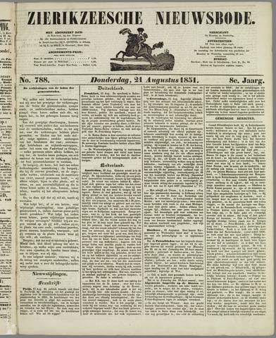 Zierikzeesche Nieuwsbode 1851-08-21
