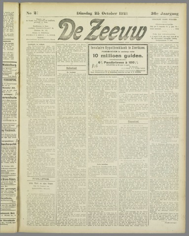De Zeeuw. Christelijk-historisch nieuwsblad voor Zeeland 1921-10-25