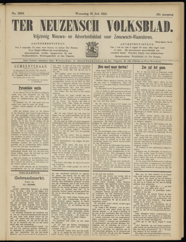 Ter Neuzensch Volksblad. Vrijzinnig nieuws- en advertentieblad voor Zeeuwsch- Vlaanderen / Zeeuwsch Nieuwsblad. Nieuws- en advertentieblad voor Zeeland 1912-07-31