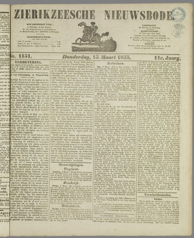 Zierikzeesche Nieuwsbode 1855-03-15