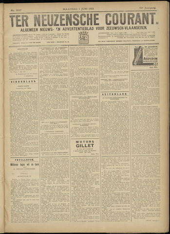 Ter Neuzensche Courant. Algemeen Nieuws- en Advertentieblad voor Zeeuwsch-Vlaanderen / Neuzensche Courant ... (idem) / (Algemeen) nieuws en advertentieblad voor Zeeuwsch-Vlaanderen 1931-06-01