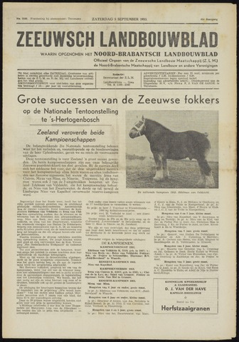 Zeeuwsch landbouwblad ... ZLM land- en tuinbouwblad 1953-09-05