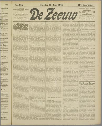 De Zeeuw. Christelijk-historisch nieuwsblad voor Zeeland 1915-06-15