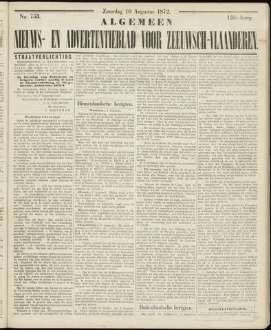 Ter Neuzensche Courant. Algemeen Nieuws- en Advertentieblad voor Zeeuwsch-Vlaanderen / Neuzensche Courant ... (idem) / (Algemeen) nieuws en advertentieblad voor Zeeuwsch-Vlaanderen 1872-08-10