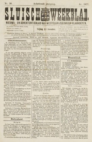 Sluisch Weekblad. Nieuws- en advertentieblad voor Westelijk Zeeuwsch-Vlaanderen 1877-12-14