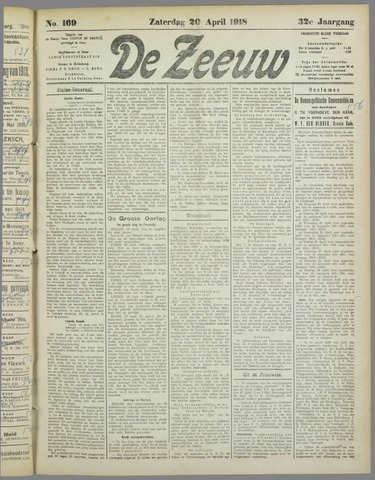 De Zeeuw. Christelijk-historisch nieuwsblad voor Zeeland 1918-04-20