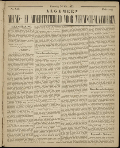 Ter Neuzensche Courant. Algemeen Nieuws- en Advertentieblad voor Zeeuwsch-Vlaanderen / Neuzensche Courant ... (idem) / (Algemeen) nieuws en advertentieblad voor Zeeuwsch-Vlaanderen 1873-05-24