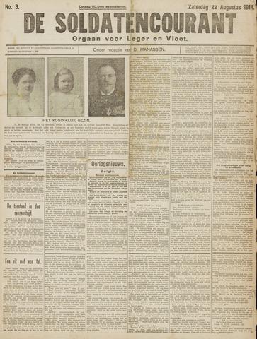 De Soldatencourant. Orgaan voor Leger en Vloot 1914-08-22