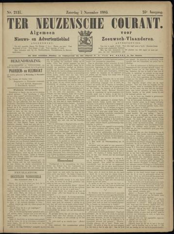 Ter Neuzensche Courant. Algemeen Nieuws- en Advertentieblad voor Zeeuwsch-Vlaanderen / Neuzensche Courant ... (idem) / (Algemeen) nieuws en advertentieblad voor Zeeuwsch-Vlaanderen 1885-11-07