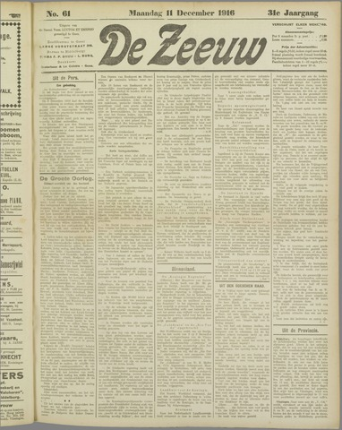 De Zeeuw. Christelijk-historisch nieuwsblad voor Zeeland 1916-12-11