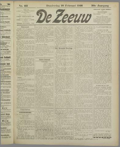 De Zeeuw. Christelijk-historisch nieuwsblad voor Zeeland 1916-02-10