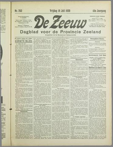 De Zeeuw. Christelijk-historisch nieuwsblad voor Zeeland 1930-07-18