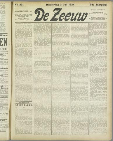 De Zeeuw. Christelijk-historisch nieuwsblad voor Zeeland 1924-07-03