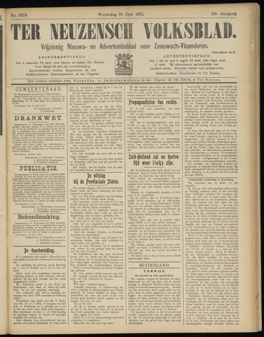 Ter Neuzensch Volksblad. Vrijzinnig nieuws- en advertentieblad voor Zeeuwsch- Vlaanderen / Zeeuwsch Nieuwsblad. Nieuws- en advertentieblad voor Zeeland 1913-06-18