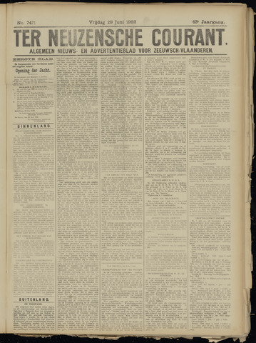 Ter Neuzensche Courant. Algemeen Nieuws- en Advertentieblad voor Zeeuwsch-Vlaanderen / Neuzensche Courant ... (idem) / (Algemeen) nieuws en advertentieblad voor Zeeuwsch-Vlaanderen 1923-06-29