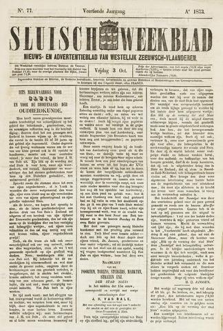 Sluisch Weekblad. Nieuws- en advertentieblad voor Westelijk Zeeuwsch-Vlaanderen 1873-10-03