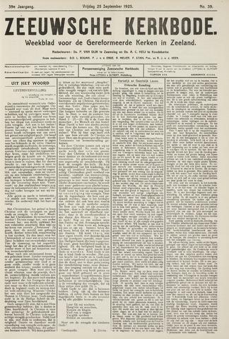 Zeeuwsche kerkbode, weekblad gewijd aan de belangen der gereformeerde kerken/ Zeeuwsch kerkblad 1925-09-25