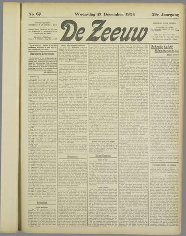 De Zeeuw. Christelijk-historisch nieuwsblad voor Zeeland 1924-12-17