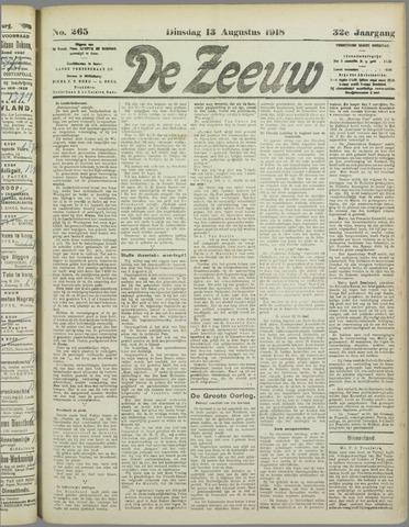 De Zeeuw. Christelijk-historisch nieuwsblad voor Zeeland 1918-08-13