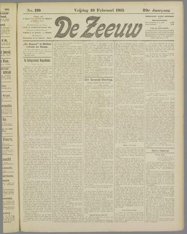 De Zeeuw. Christelijk-historisch nieuwsblad voor Zeeland 1915-02-19