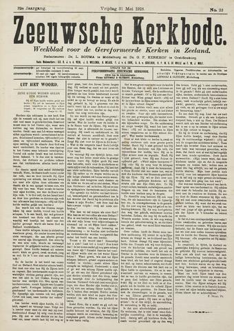 Zeeuwsche kerkbode, weekblad gewijd aan de belangen der gereformeerde kerken/ Zeeuwsch kerkblad 1918-05-31