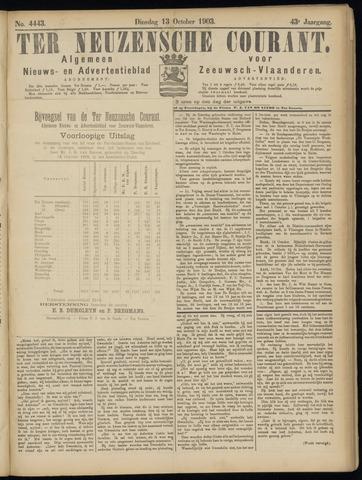 Ter Neuzensche Courant. Algemeen Nieuws- en Advertentieblad voor Zeeuwsch-Vlaanderen / Neuzensche Courant ... (idem) / (Algemeen) nieuws en advertentieblad voor Zeeuwsch-Vlaanderen 1903-10-13