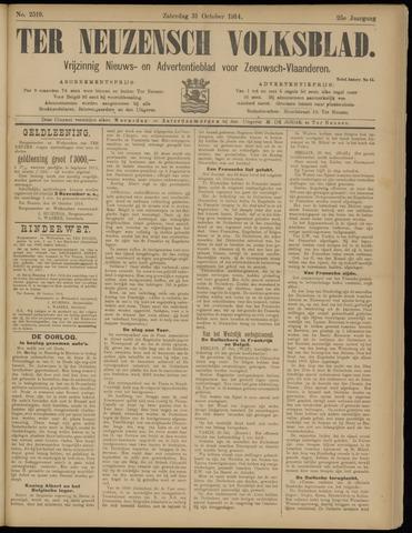 Ter Neuzensch Volksblad. Vrijzinnig nieuws- en advertentieblad voor Zeeuwsch- Vlaanderen / Zeeuwsch Nieuwsblad. Nieuws- en advertentieblad voor Zeeland 1914-10-31