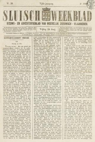 Sluisch Weekblad. Nieuws- en advertentieblad voor Westelijk Zeeuwsch-Vlaanderen 1864-06-24