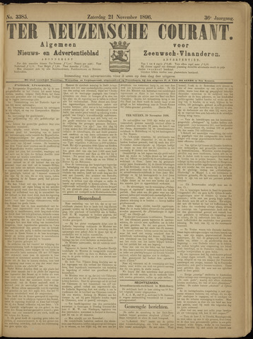 Ter Neuzensche Courant. Algemeen Nieuws- en Advertentieblad voor Zeeuwsch-Vlaanderen / Neuzensche Courant ... (idem) / (Algemeen) nieuws en advertentieblad voor Zeeuwsch-Vlaanderen 1896-11-21
