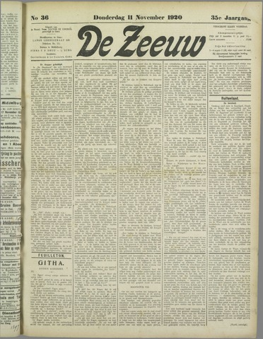 De Zeeuw. Christelijk-historisch nieuwsblad voor Zeeland 1920-11-11