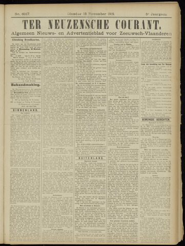 Ter Neuzensche Courant. Algemeen Nieuws- en Advertentieblad voor Zeeuwsch-Vlaanderen / Neuzensche Courant ... (idem) / (Algemeen) nieuws en advertentieblad voor Zeeuwsch-Vlaanderen 1919-11-18