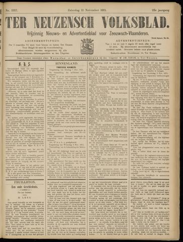 Ter Neuzensch Volksblad. Vrijzinnig nieuws- en advertentieblad voor Zeeuwsch- Vlaanderen / Zeeuwsch Nieuwsblad. Nieuws- en advertentieblad voor Zeeland 1911-11-11