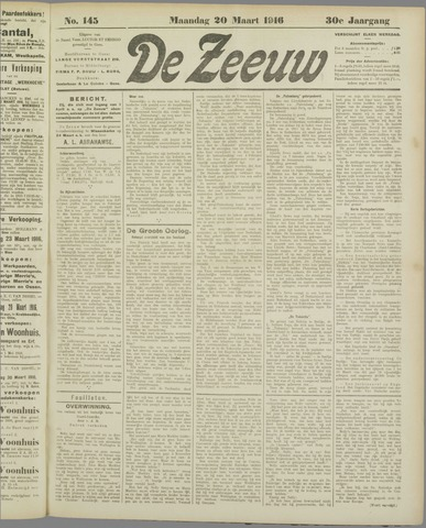 De Zeeuw. Christelijk-historisch nieuwsblad voor Zeeland 1916-03-20