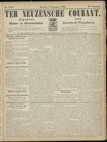 Ter Neuzensche Courant. Algemeen Nieuws- en Advertentieblad voor Zeeuwsch-Vlaanderen / Neuzensche Courant ... (idem) / (Algemeen) nieuws en advertentieblad voor Zeeuwsch-Vlaanderen 1885-09-05