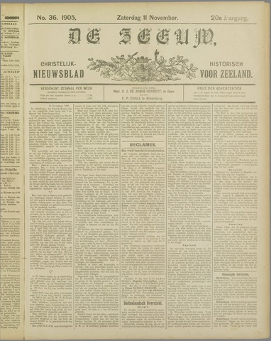 De Zeeuw. Christelijk-historisch nieuwsblad voor Zeeland 1905-11-11