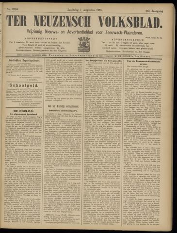 Ter Neuzensch Volksblad. Vrijzinnig nieuws- en advertentieblad voor Zeeuwsch- Vlaanderen / Zeeuwsch Nieuwsblad. Nieuws- en advertentieblad voor Zeeland 1915-08-07