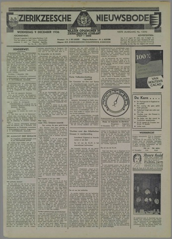 Zierikzeesche Nieuwsbode 1936-12-09