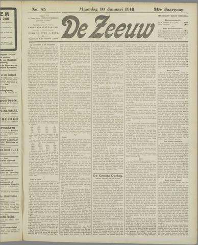 De Zeeuw. Christelijk-historisch nieuwsblad voor Zeeland 1916-01-10