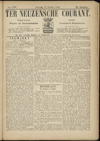 Ter Neuzensche Courant. Algemeen Nieuws- en Advertentieblad voor Zeeuwsch-Vlaanderen / Neuzensche Courant ... (idem) / (Algemeen) nieuws en advertentieblad voor Zeeuwsch-Vlaanderen 1881-10-15