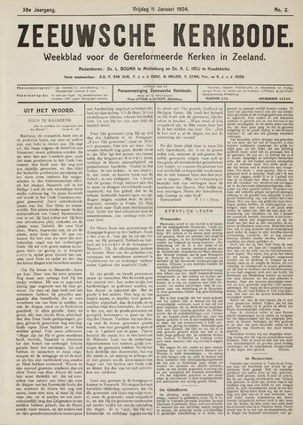 Zeeuwsche kerkbode, weekblad gewijd aan de belangen der gereformeerde kerken/ Zeeuwsch kerkblad 1924-01-11