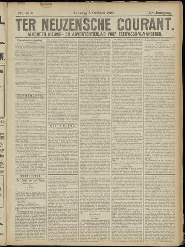 Ter Neuzensche Courant. Algemeen Nieuws- en Advertentieblad voor Zeeuwsch-Vlaanderen / Neuzensche Courant ... (idem) / (Algemeen) nieuws en advertentieblad voor Zeeuwsch-Vlaanderen 1920-10-05