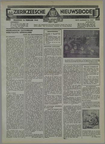 Zierikzeesche Nieuwsbode 1942-02-16