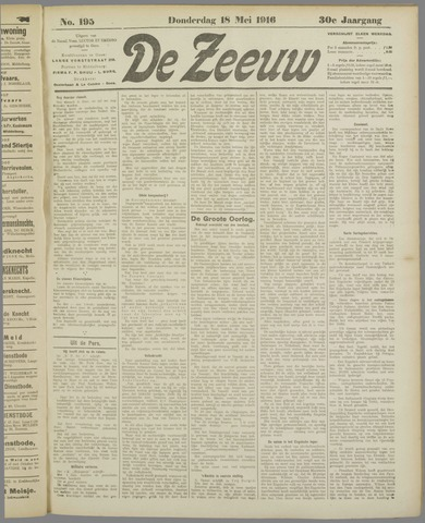 De Zeeuw. Christelijk-historisch nieuwsblad voor Zeeland 1916-05-18